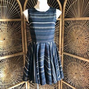 MAISON JULES Striped Fit and Flare Navy Dress Sm